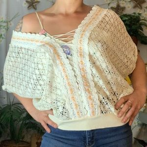 Free people white crochet oversized sweater top